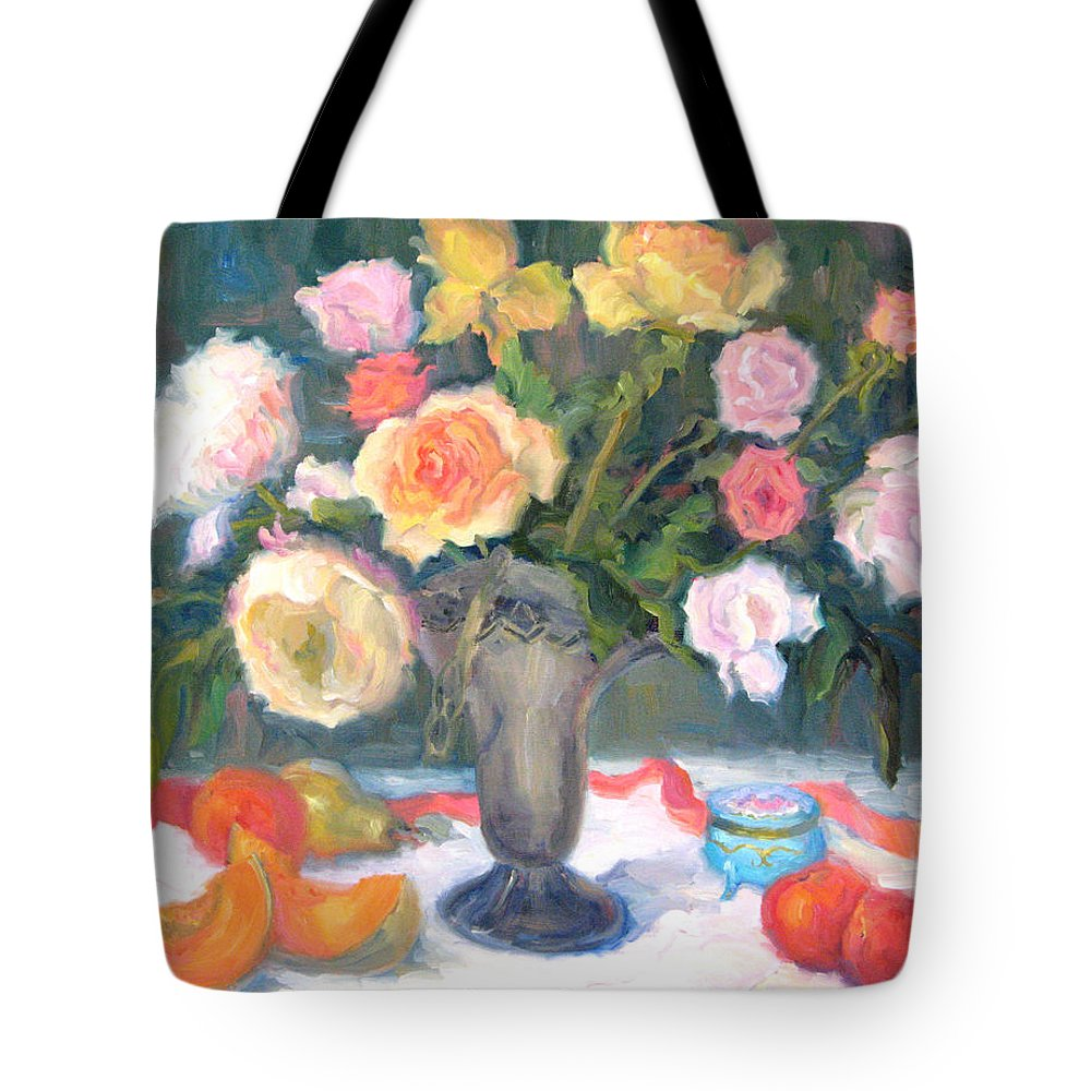 Roses Tote Bag featuring the painting Roses And Fruit by Bunny Oliver