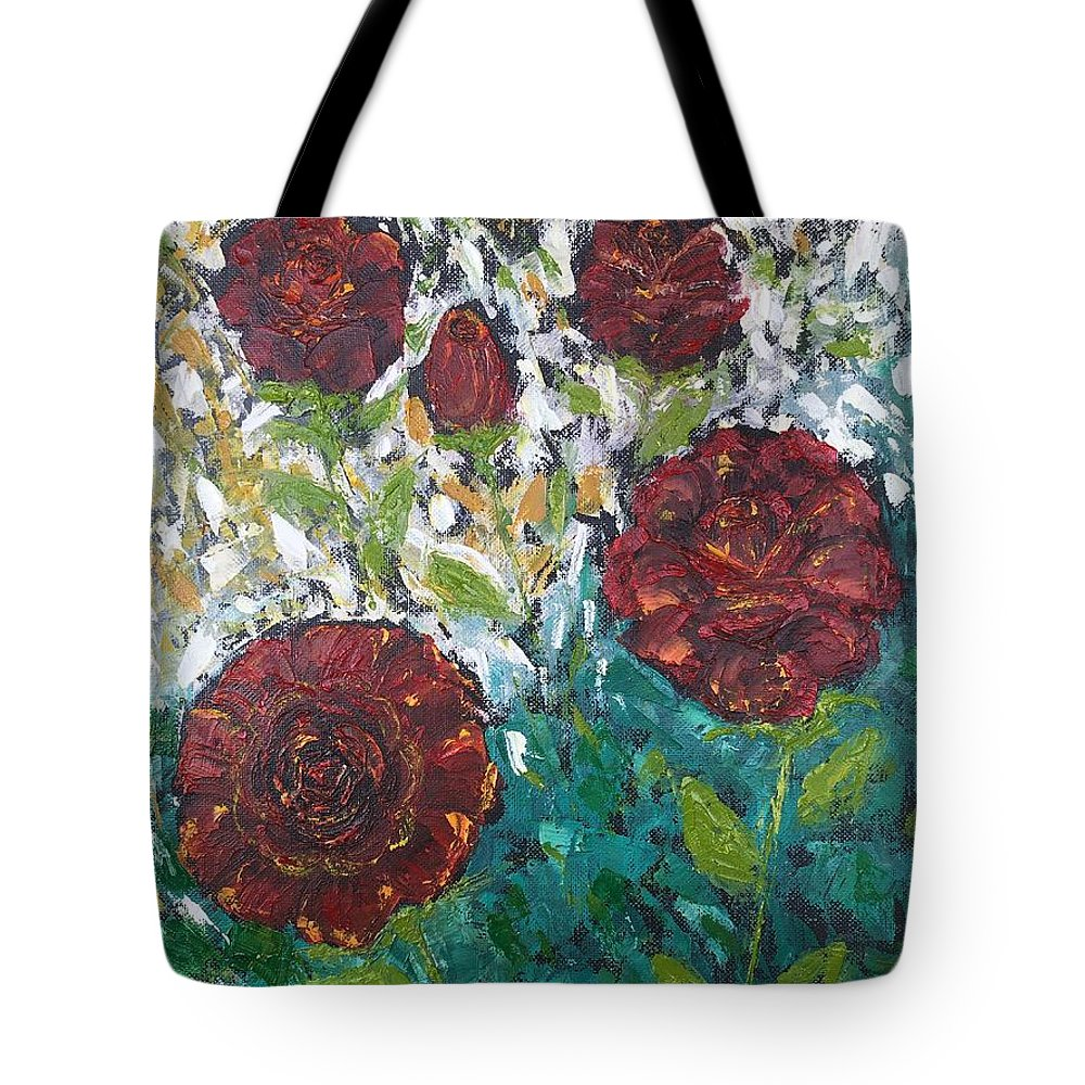 Flower Tote Bag featuring the painting Roses by Ankita Gupta
