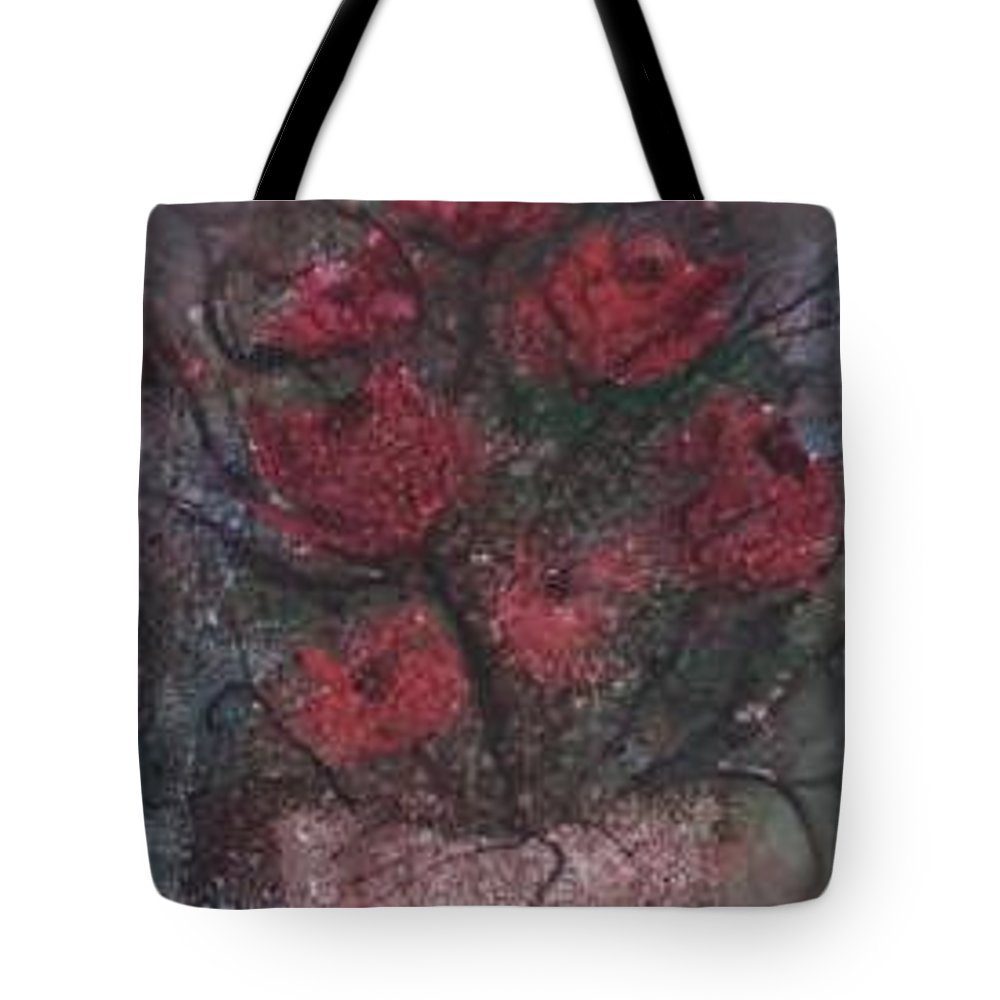 Watercolor Tote Bag featuring the painting ROSES AT NIGHT gothic surreal modern painting poster print by Derek Mccrea