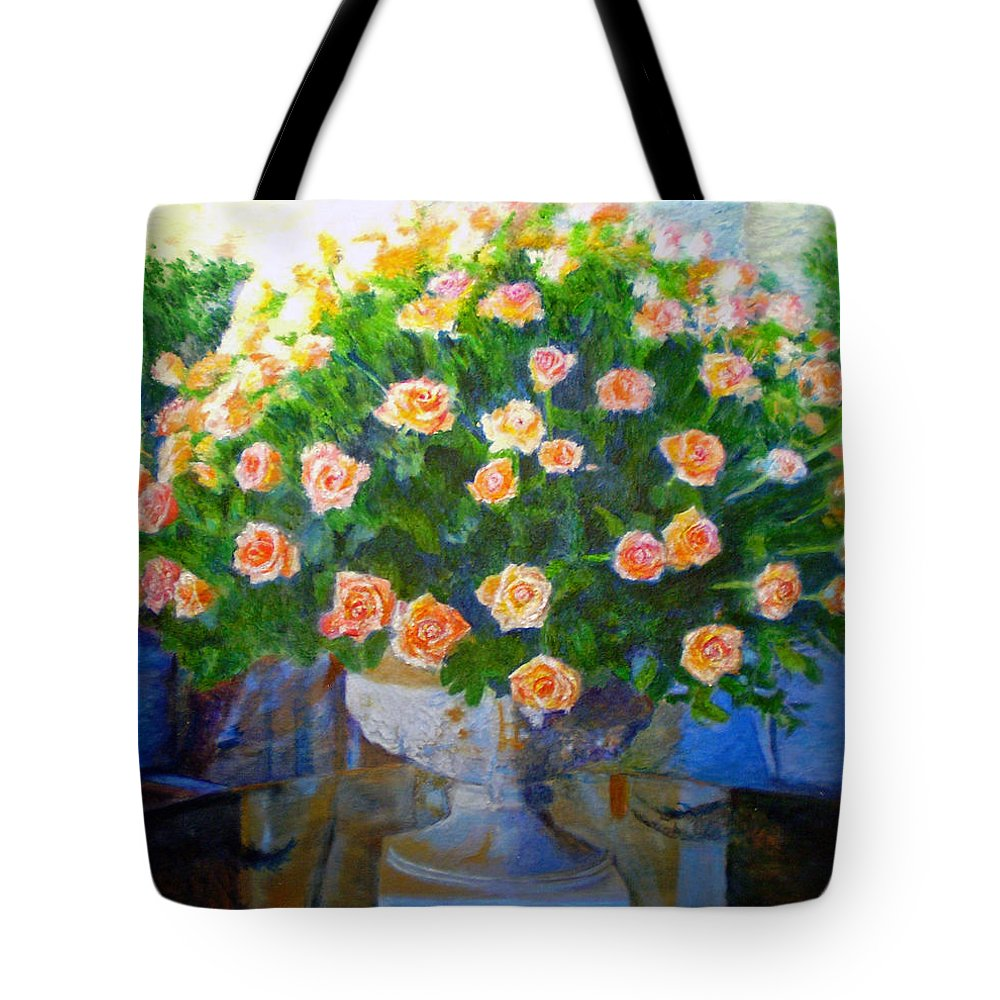 Rose Tote Bag featuring the painting Roses At Table Bay by Michael Durst