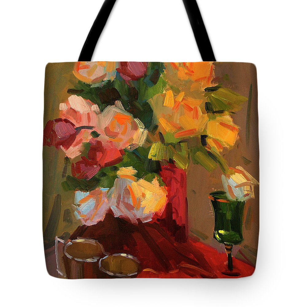 Roses Tote Bag featuring the painting Roses by Diane McClary