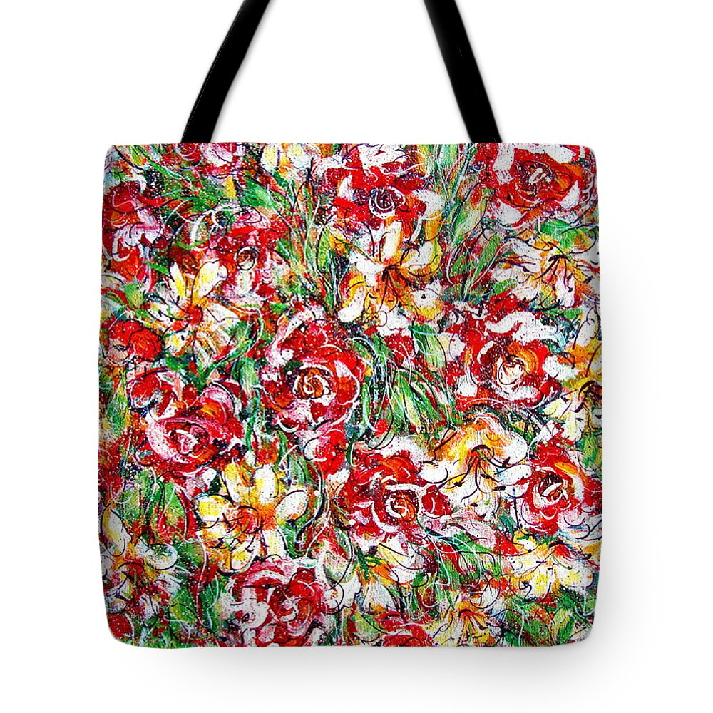 Red Roses Tote Bag featuring the painting Roses For You by Natalie Holland