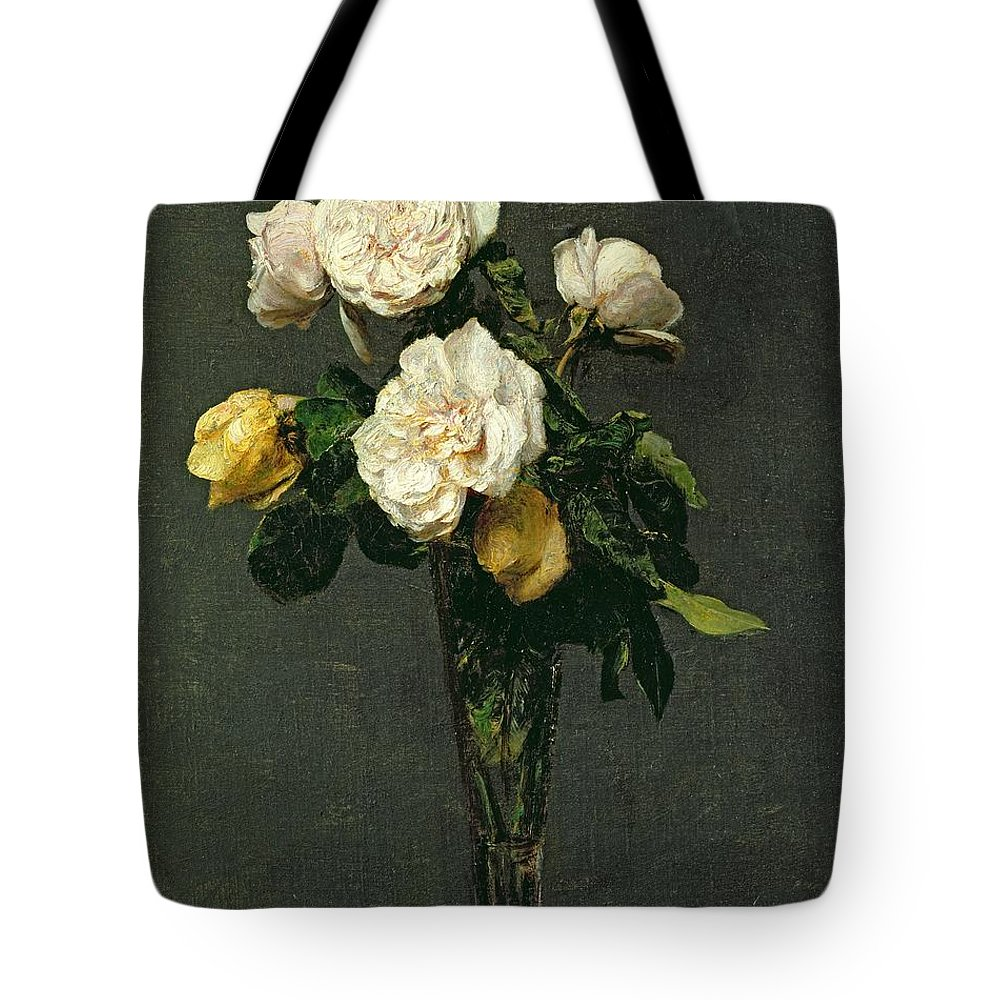 Roses Tote Bag featuring the painting Roses In A Champagne Flute by Ignace Henri Jean Fantin-Latour