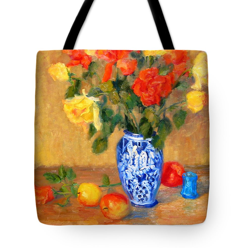 Rose Tote Bag featuring the painting Roses In A Mexican Vase by Bunny Oliver