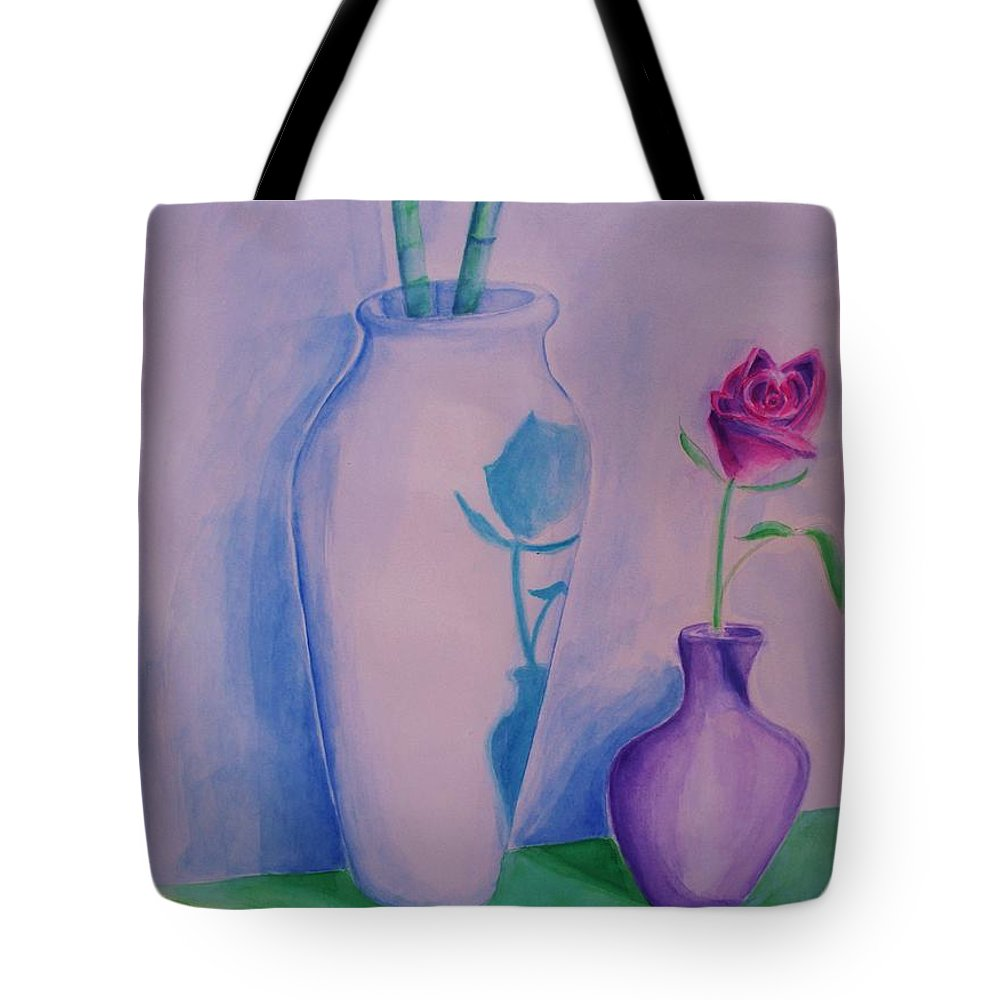 Red Rose Tote Bag featuring the painting Roses In Vase by Eric Schiabor
