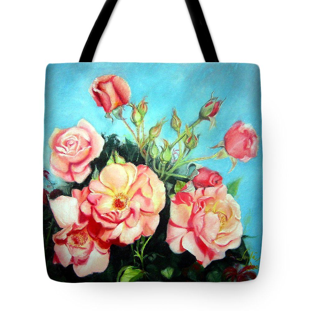Flowers Tote Bag featuring the painting Roses by Leyla Munteanu