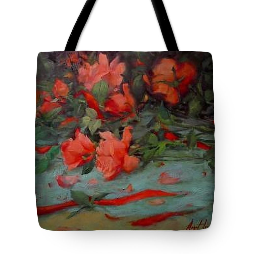 Rose Tote Bag featuring the painting Roses by Margaret Aycock