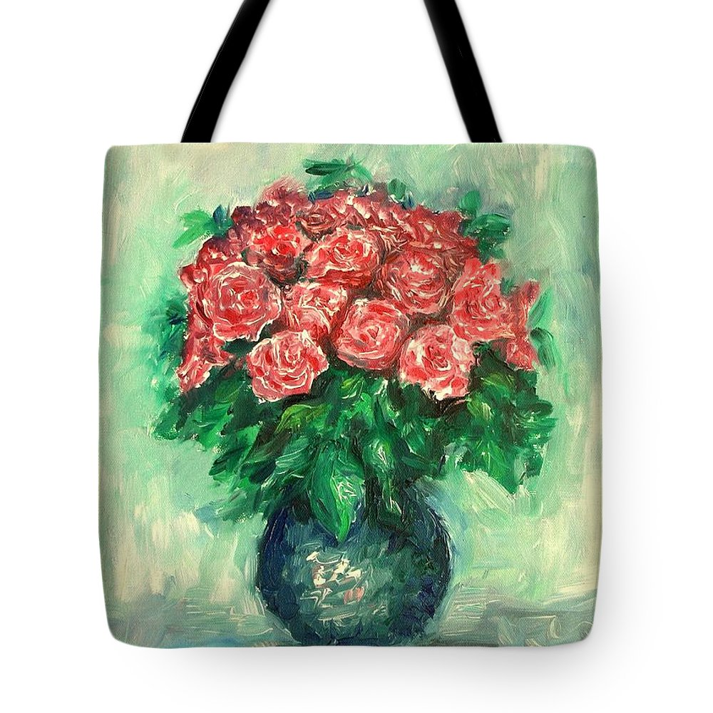 Oil Canvas Tote Bag featuring the painting Roses Oil Painting by Natalja Picugina