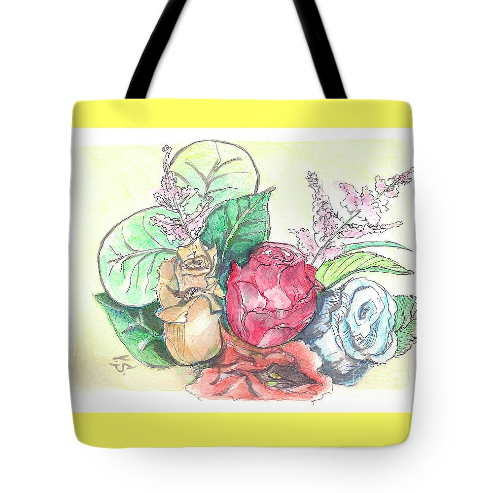 Roses Tote Bag featuring the painting Roses On A Birthday by Yana Sadykova