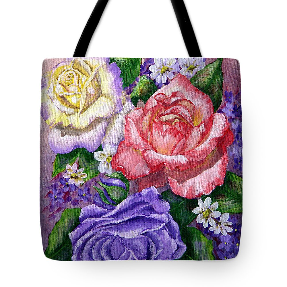 Rose Tote Bag featuring the painting Roses by Quwatha Valentine