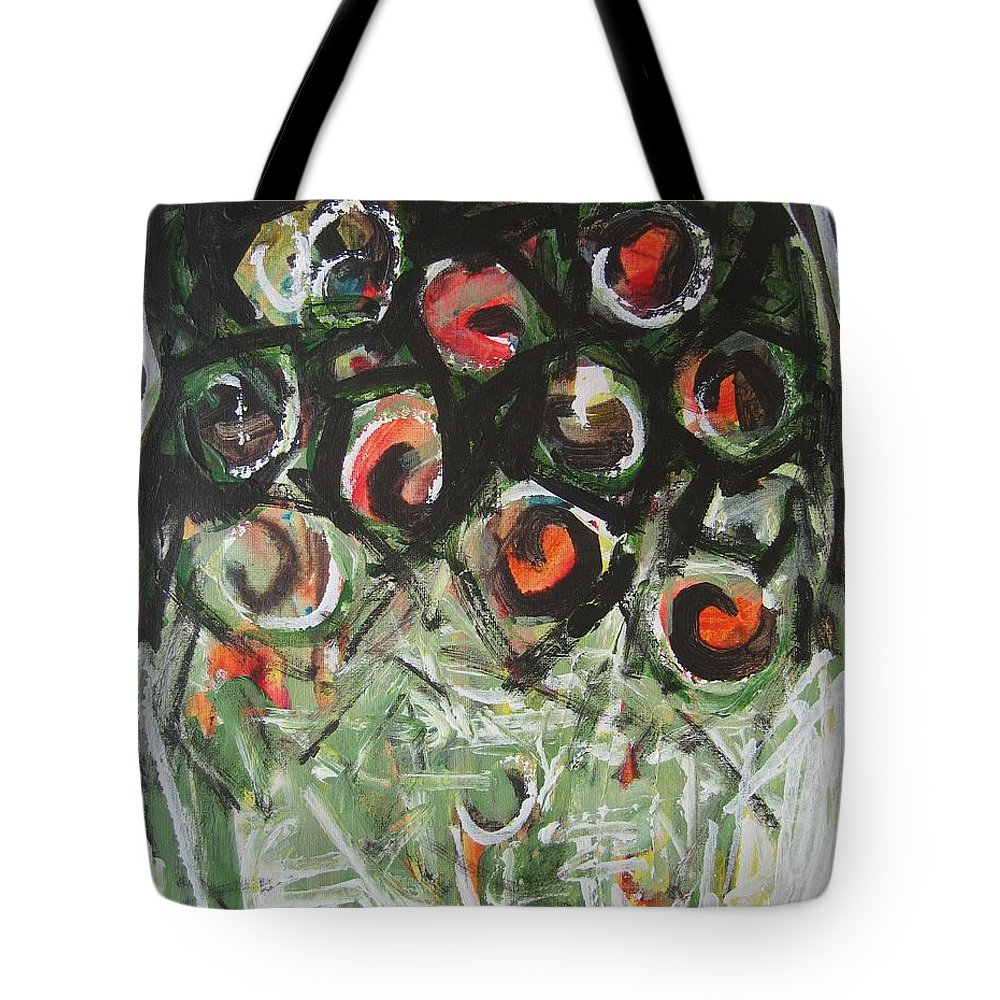 Abstract Painting Tote Bag featuring the painting Roses by Seon-Jeong Kim