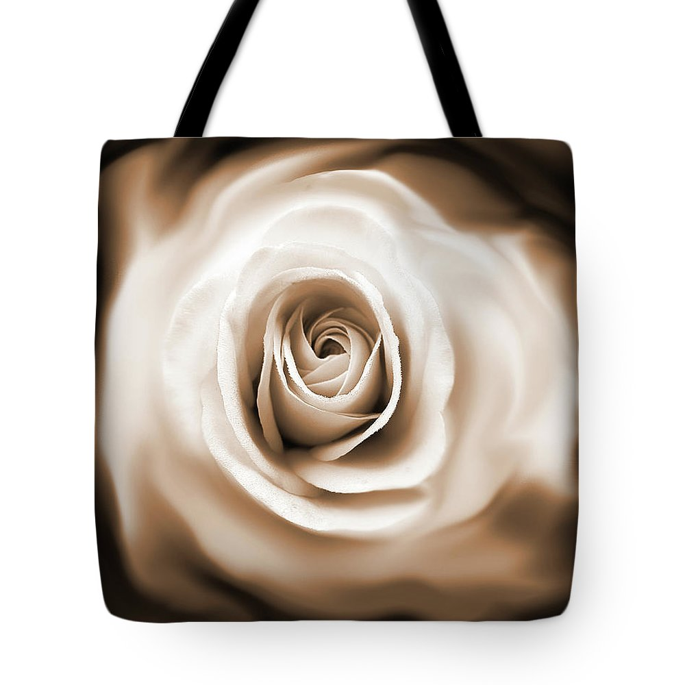 Rose Tote Bag featuring the photograph Rose's Whisper Sepia by Jennie Marie Schell