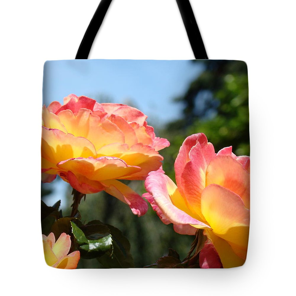 Rose Tote Bag featuring the photograph Roses Yellow Roses Pink Summer Roses 4 Blue Sky Landscape Baslee Troutman by Baslee Troutman