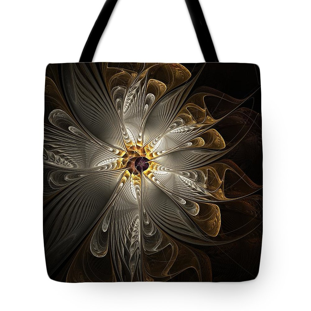 Digital Art Tote Bag featuring the digital art Rosette In Gold And Silver by Amanda Moore