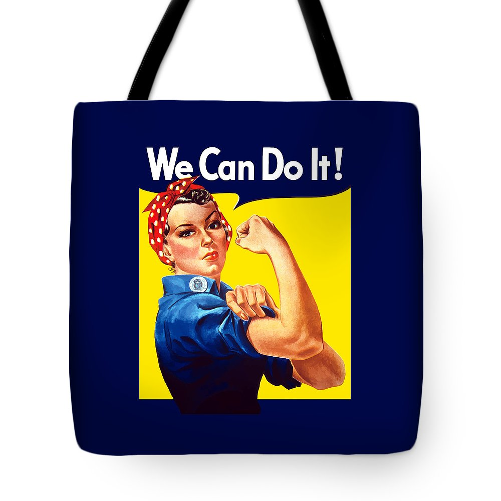 Rosie The Riveter Tote Bag featuring the painting Rosie The Rivetor by War Is Hell Store
