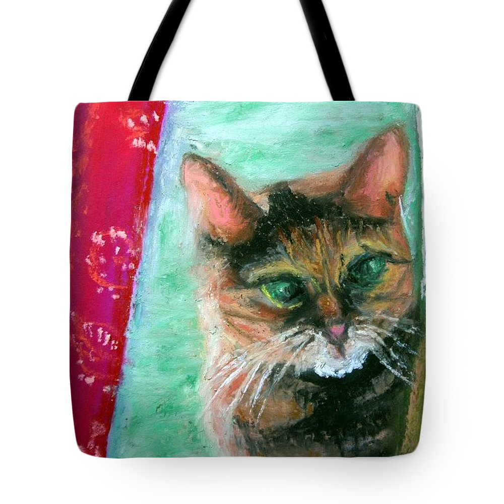 Cat Tote Bag featuring the painting Rosy In Color by Minaz Jantz