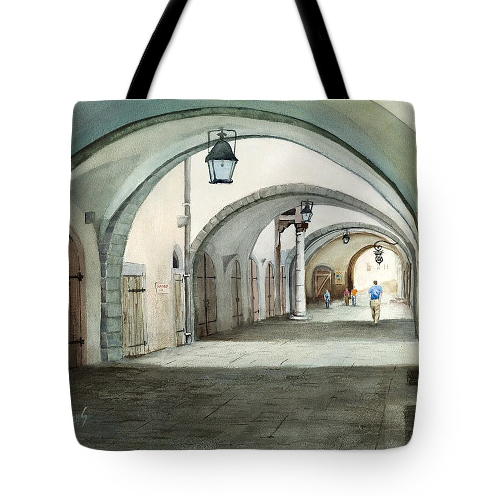 Germany Tote Bag featuring the painting Rothenburg Backstreet by Sam Sidders