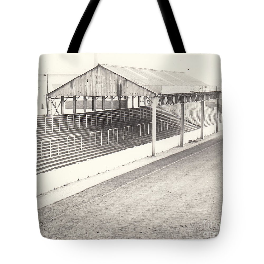 Tote Bag featuring the photograph Rotherham - Millmoor - Millmoor Lane Stand 1 - Bw - April 1970 by Legendary Football Grounds