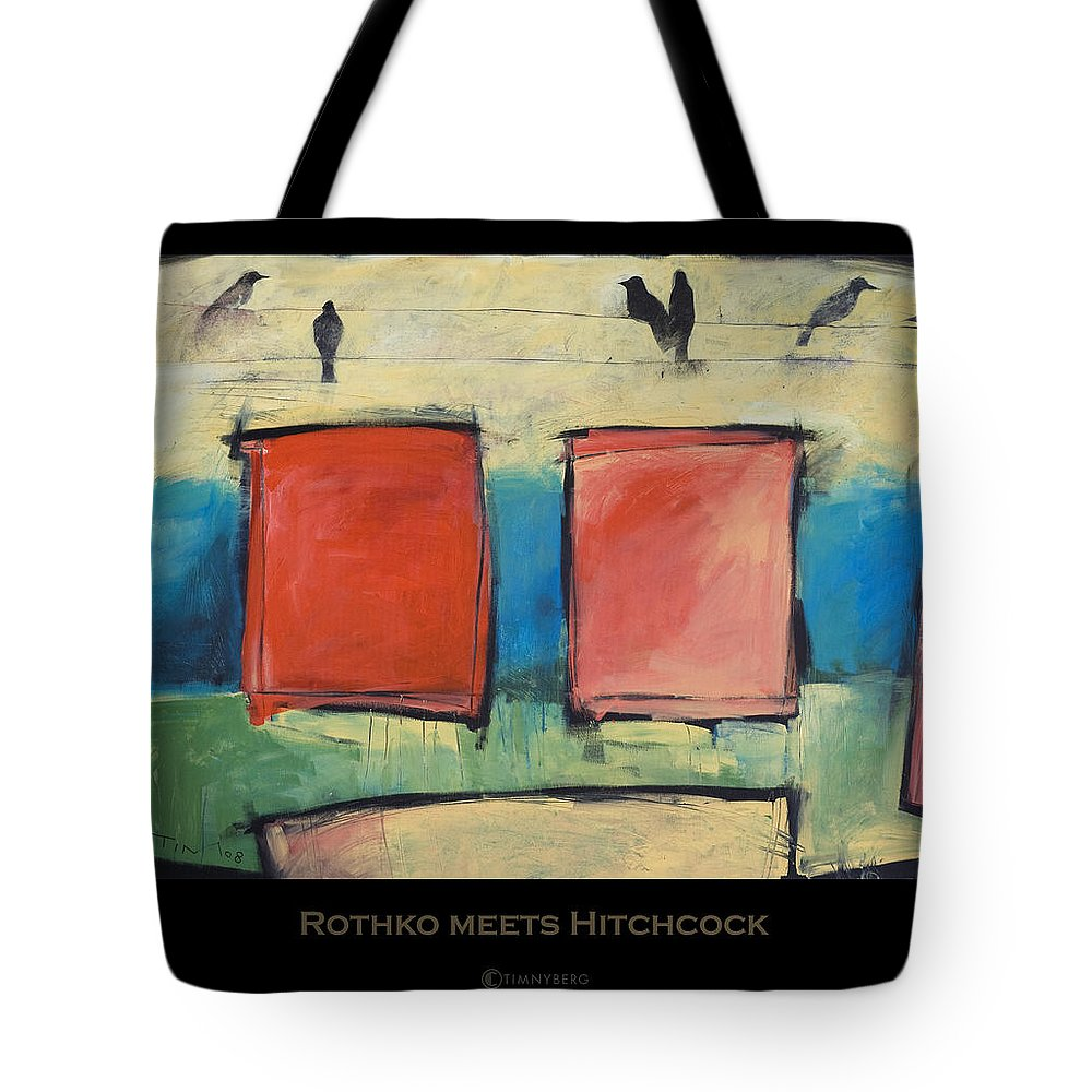 Rothko Tote Bag featuring the painting Rothko Meets Hitchcock - Poster by Tim Nyberg