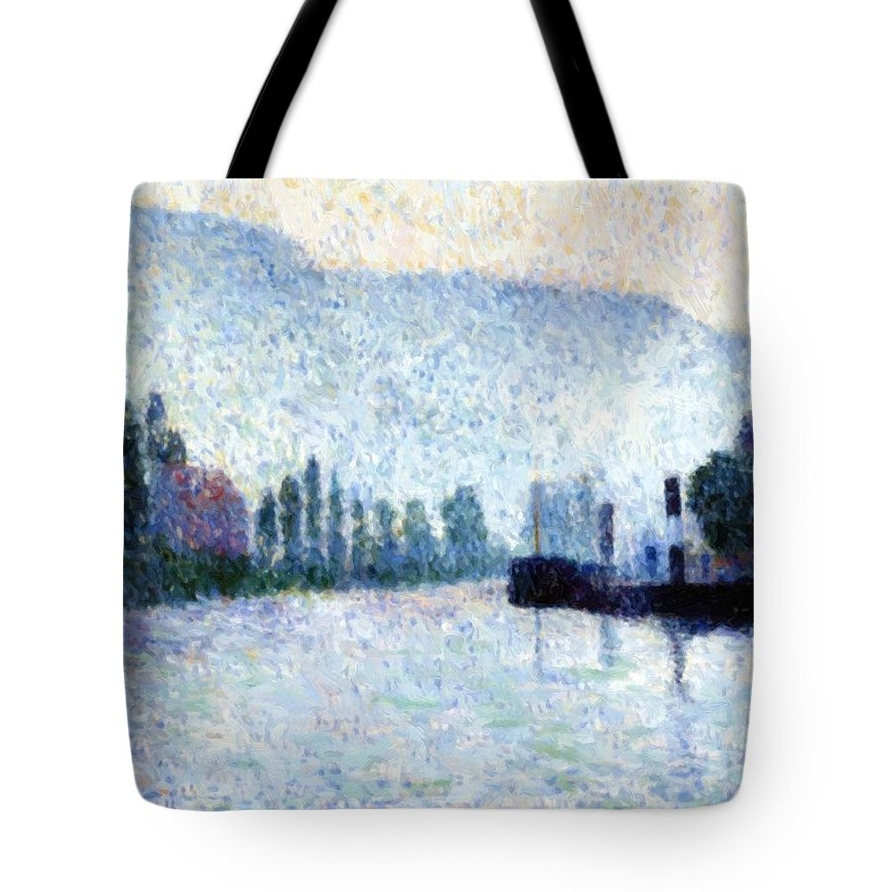 Rouen Tote Bag featuring the painting Rouen La Seine Et Les Collines Canteleu 1887 by DuboisPillet Albert