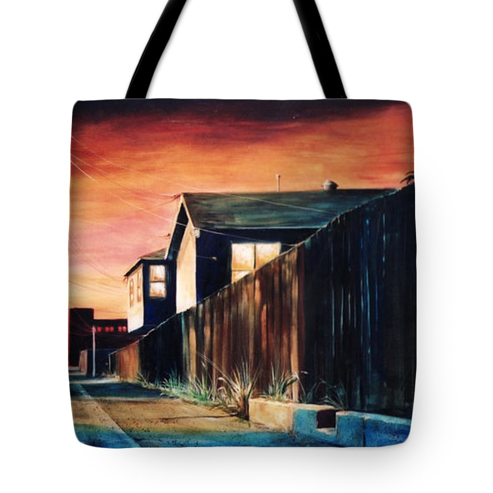 Alley Tote Bag featuring the painting Rouge Alley by Duke Windsor