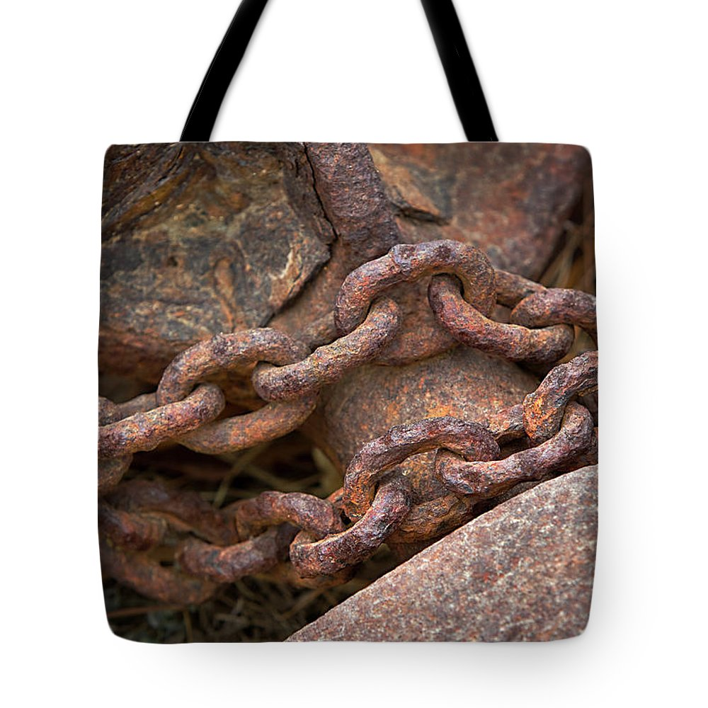 Chain Tote Bag featuring the photograph Rough Hewn Chain by Phyllis Denton