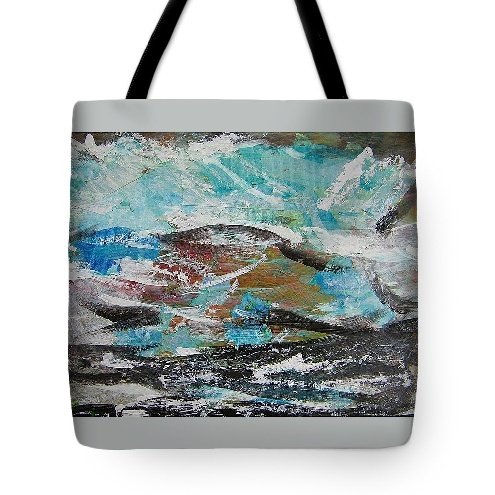 Abstract Tote Bag featuring the painting Rough Landing by Judith Redman