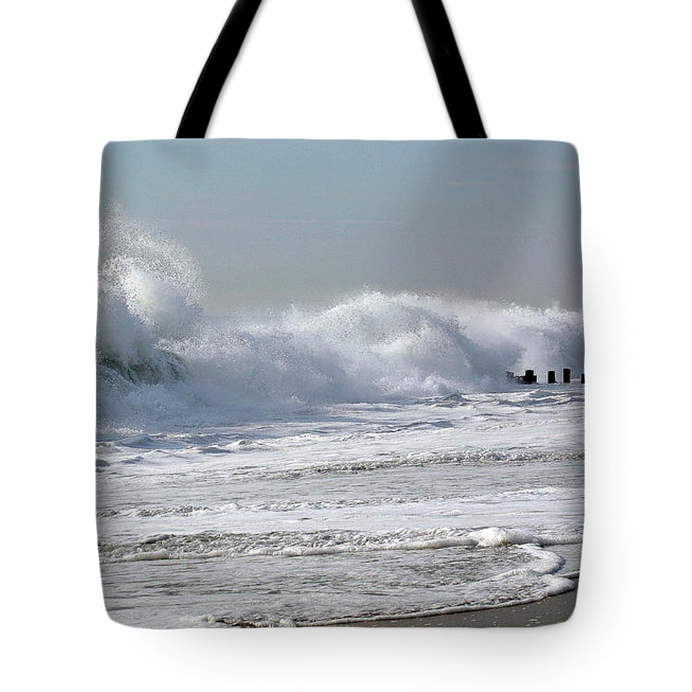 Seascape Tote Bag featuring the photograph Rough Morning by Mary Haber