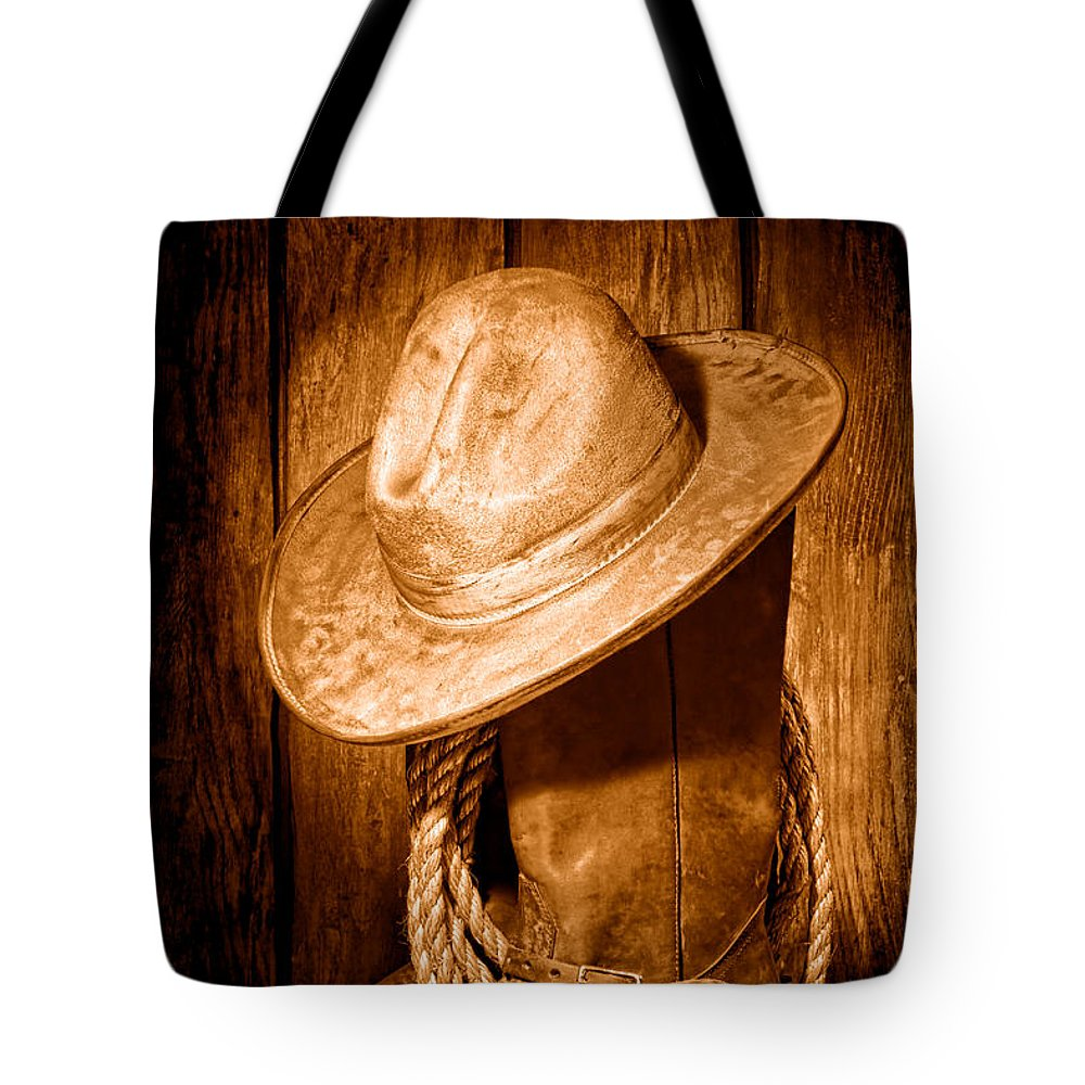 Cowboy Tote Bag featuring the photograph Rough Rider - Sepia by Olivier Le Queinec