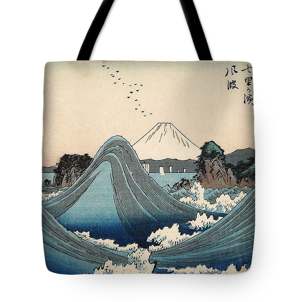Sea Tote Bag featuring the painting Rough Seas At Shichiri Beach by Hiroshige