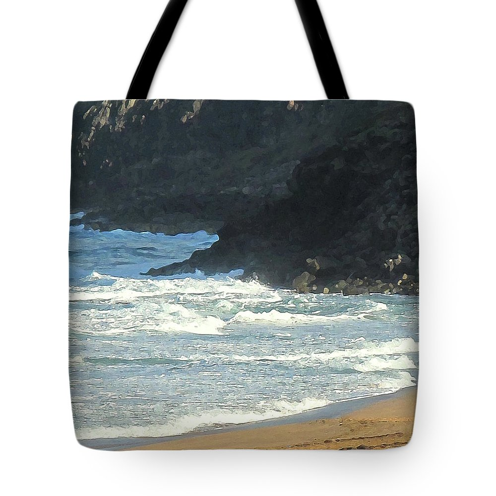 Beach Tote Bag featuring the photograph Rough Shores by Ian MacDonald