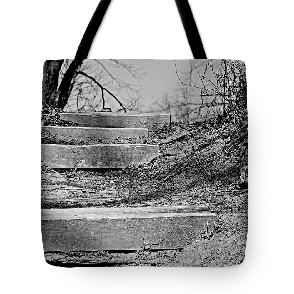 Riverbank Tote Bag featuring the photograph Rough Steps Up The Riverbank by Gregory Strong