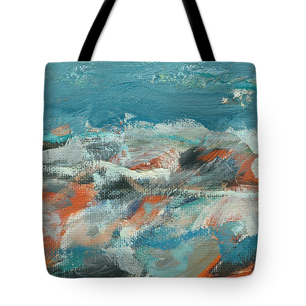 Seascape Tote Bag featuring the painting Rough Waters by Jorge Delara