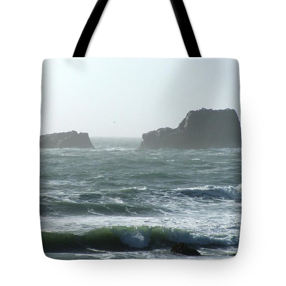 Oceanes Tote Bag featuring the photograph Rough Waters by Shari Chavira