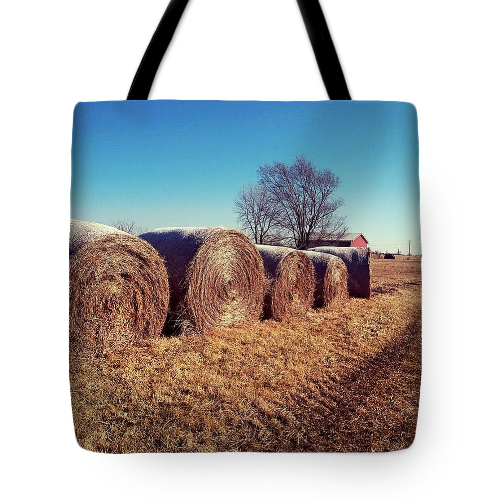 Hay Bale Bag : Round hay bales tote bag for sale by sharon woodrum