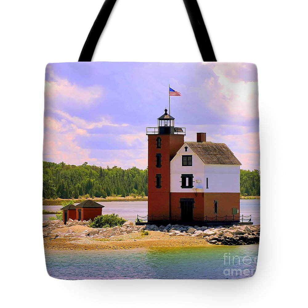 Mackinac Island Tote Bag featuring the painting Round Island Lighthouse by Betsy Foster Breen