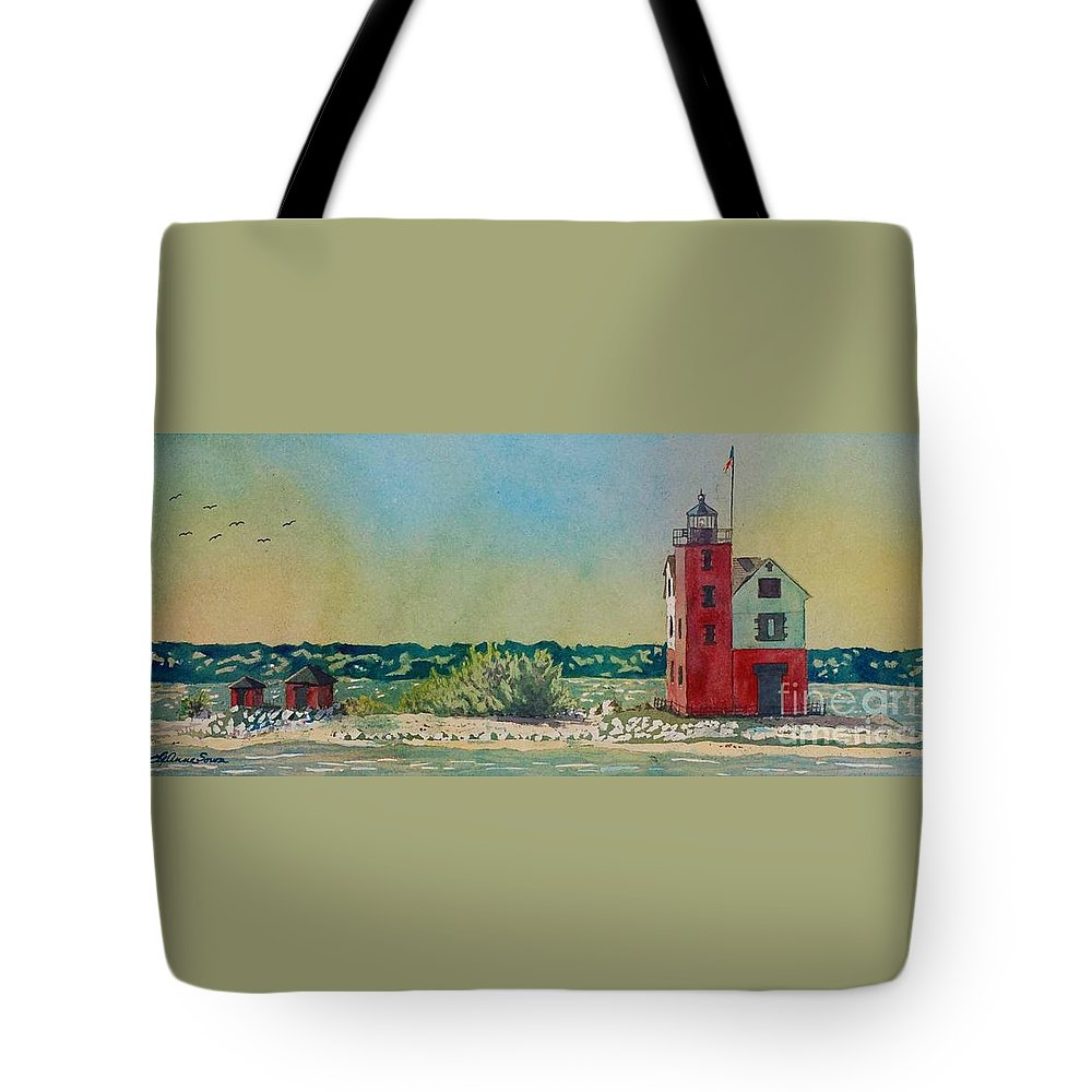 Michigan Tote Bag featuring the painting Round Island Lighthouse, Lighthouse Painting, Lighthouse Print, Mackinaw Island by LeAnne Sowa