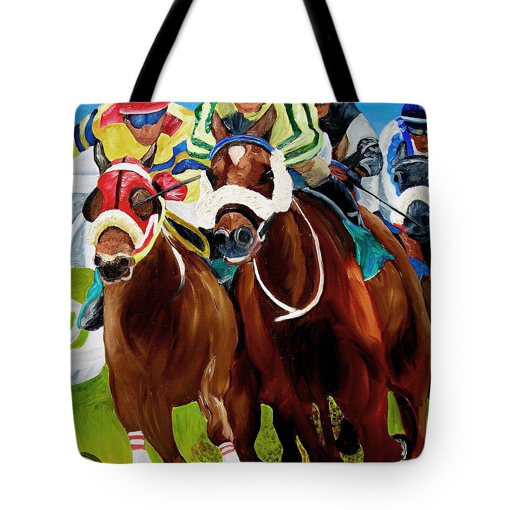 Horse Racing Tote Bag featuring the painting Rounding The Bend by Michael Lee