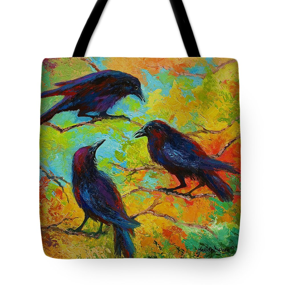 Crows Tote Bag featuring the painting Roundtable Discussion - Crows by Marion Rose