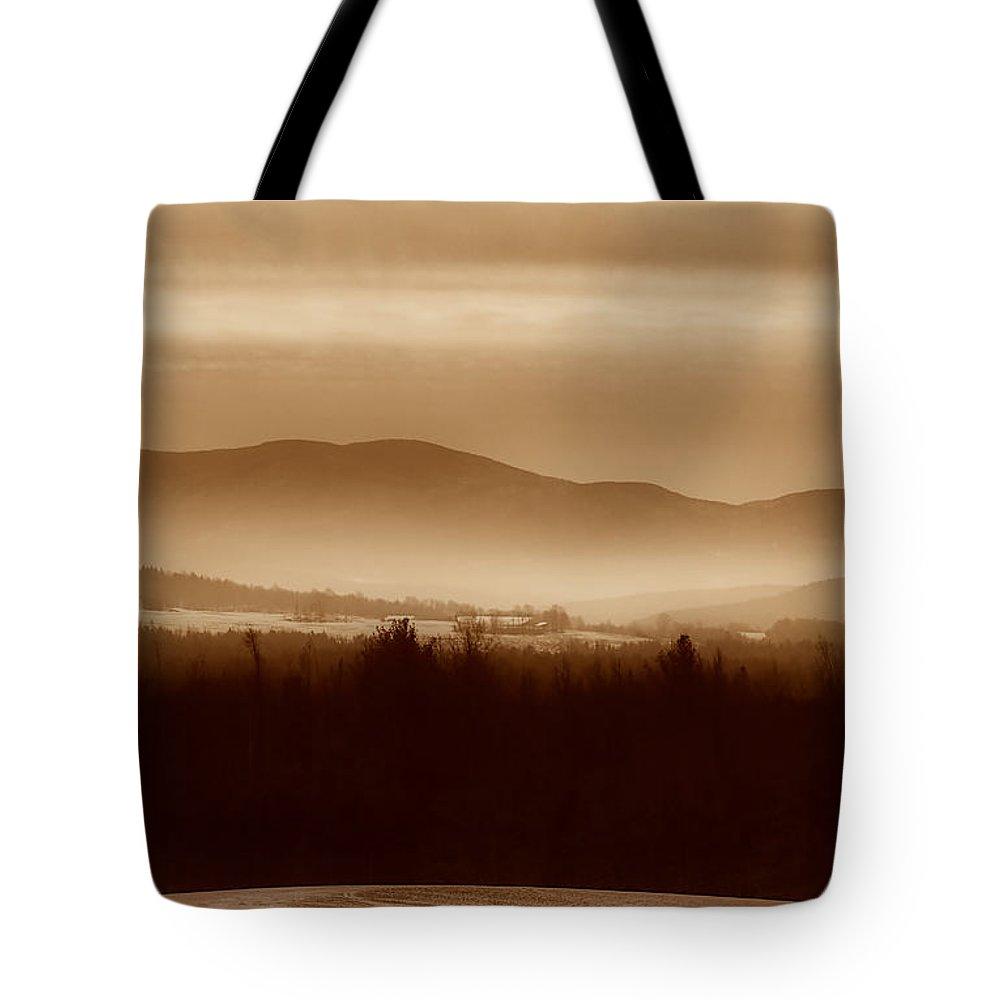 Landscape Tote Bag featuring the photograph Route 120 Vermont View by Deborah Benoit