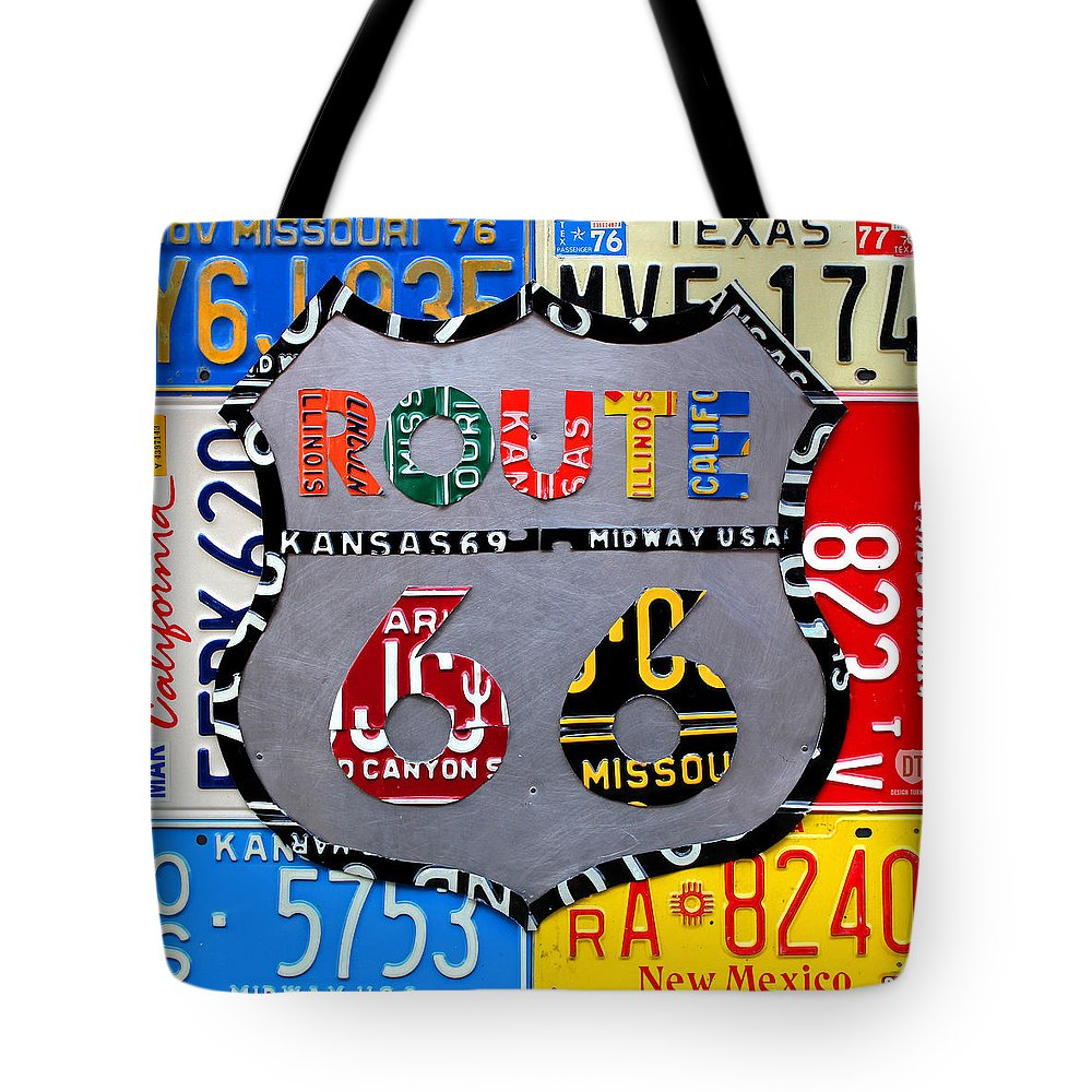 Route 66 Highway Road Sign License Plate Art Travel License Plate Map Tote Bag featuring the mixed media Route 66 Highway Road Sign License Plate Art by Design Turnpike