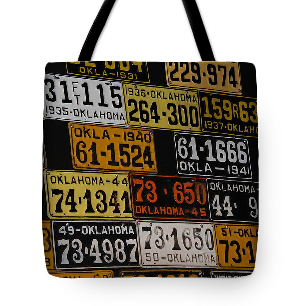 Route 66 Tote Bag featuring the photograph Route 66 Oklahoma Car Tags by Susanne Van Hulst