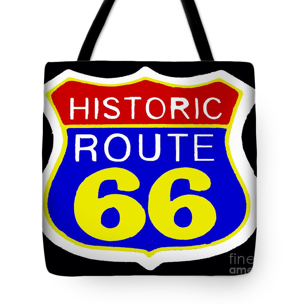 Route Tote Bag featuring the painting Route 66 Vintage Sign by Saundra Myles