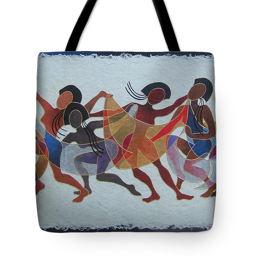 Fiji Islands Tote Bag featuring the painting Rovati II by Maria Rova