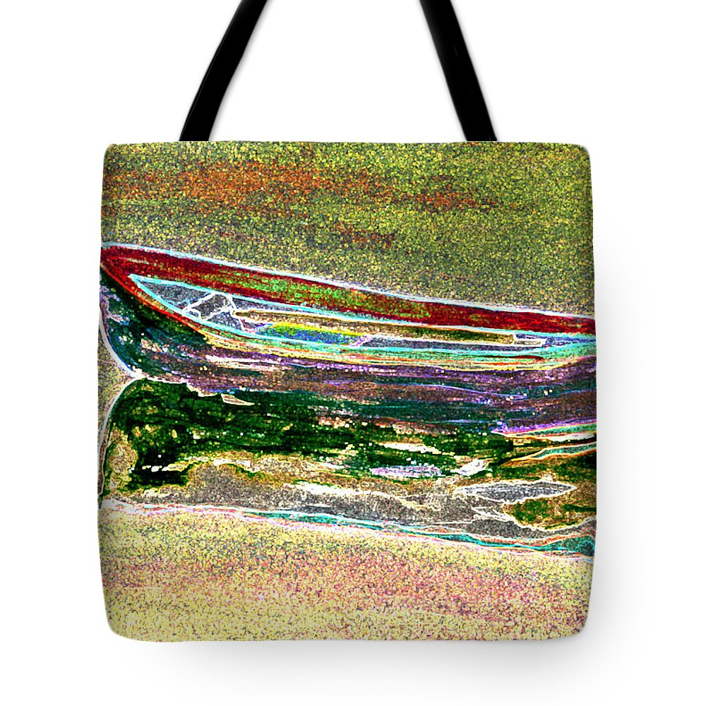 Rowboat Tote Bag featuring the digital art Rowboat Fluorescence 1 by Peter Paul Lividini
