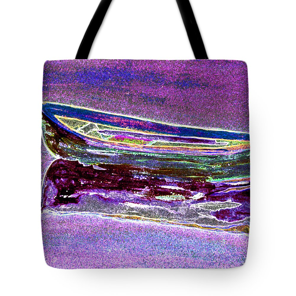 Rowboat Tote Bag featuring the digital art Rowboat Fluorescence 3 by Peter Paul Lividini