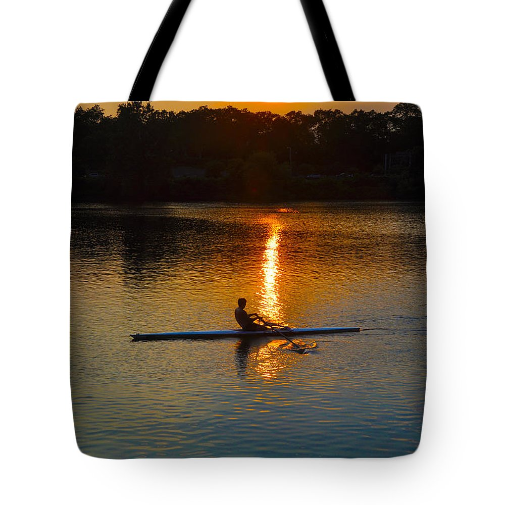 Philadelphia Tote Bag featuring the photograph Rowing At Sunset 2 by Bill Cannon