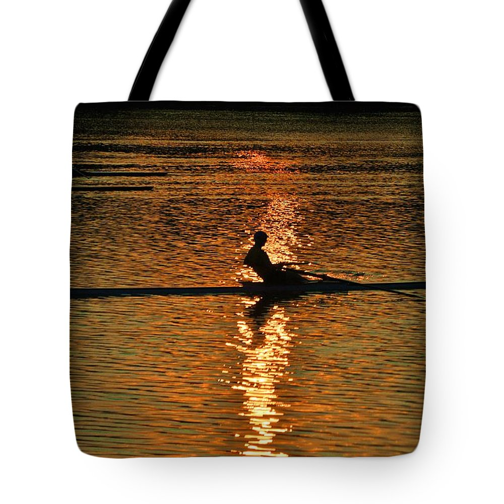Philadelphia Tote Bag featuring the photograph Rowing At Sunset 3 by Bill Cannon