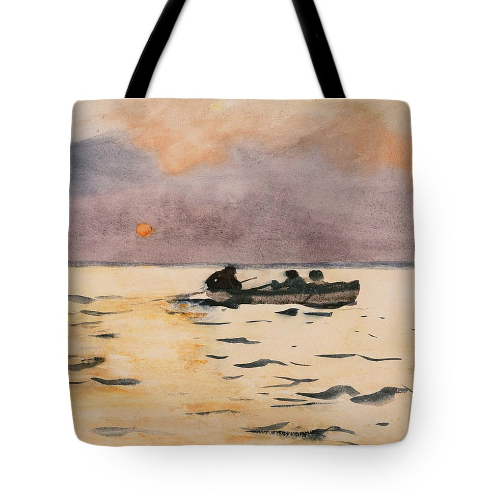 Winslow Homer Tote Bag featuring the painting Rowing Home by Winslow Homer