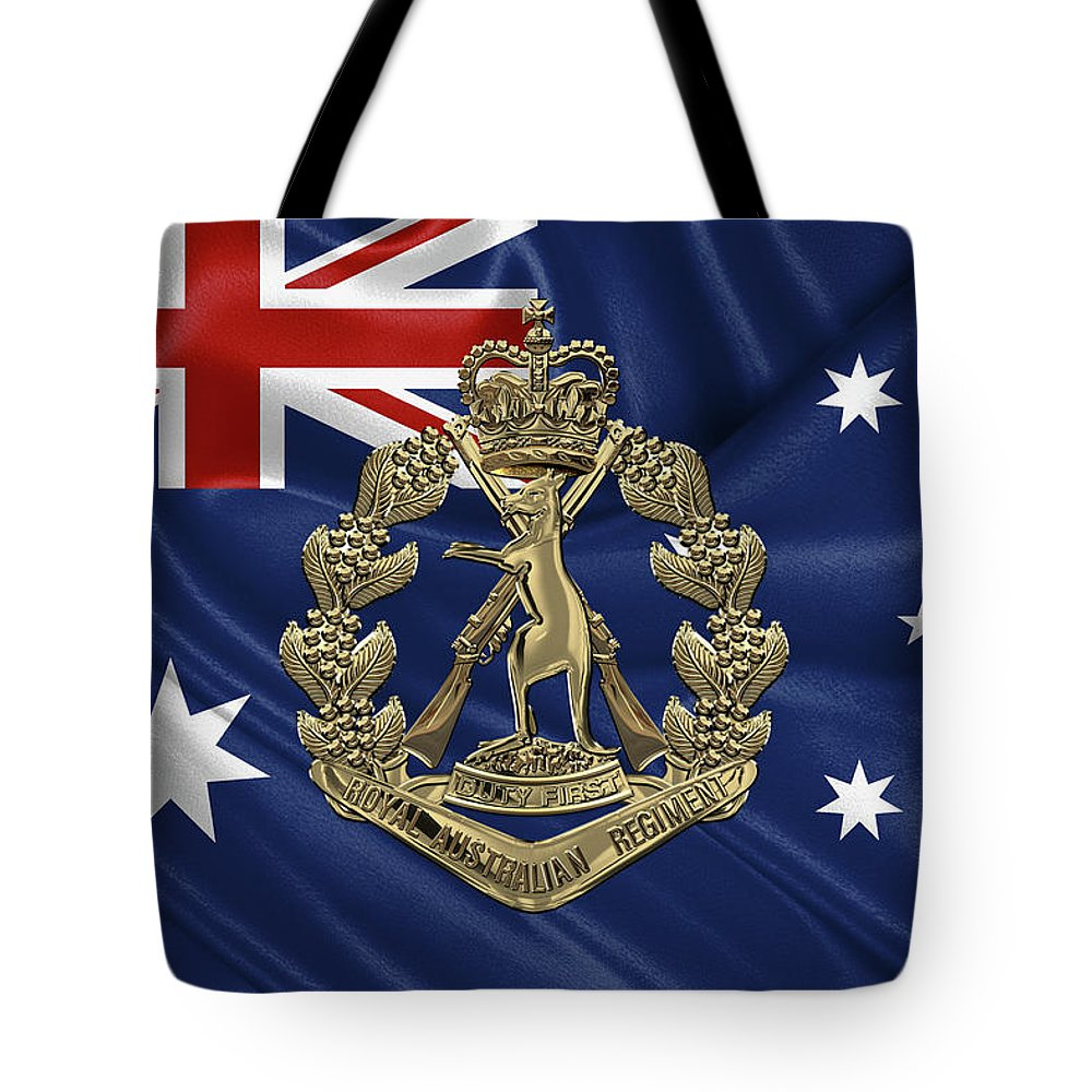 'australian Insignia & Heraldry' Collection By Serge Averbukh Tote Bag featuring the digital art Royal Australian Regiment  - R A R Badge Over Australian Flag by Serge Averbukh